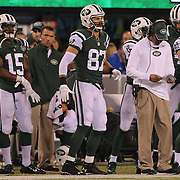 Eric Decker, New York Jets, on the sideline during the New York Jets Vs Chicago Bears, NFL regular season game at MetLife Stadium, East Rutherford, NJ, USA. 22nd September 2014. Photo Tim Clayton for the New York Times