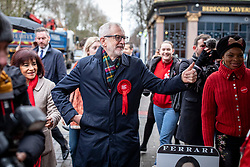 © Licensed to London News Pictures. 12/12/2019. London, UK. Labour Party Leader Jeremy Corbyn walks to Pakeman Primary School in North London to vote in the 2019 General Election. Photo credit: Rob Pinney/LNP