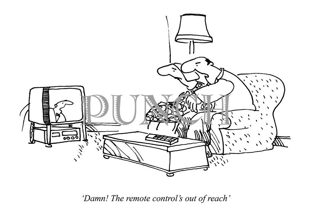 'Damn! The remote control's out of reach'