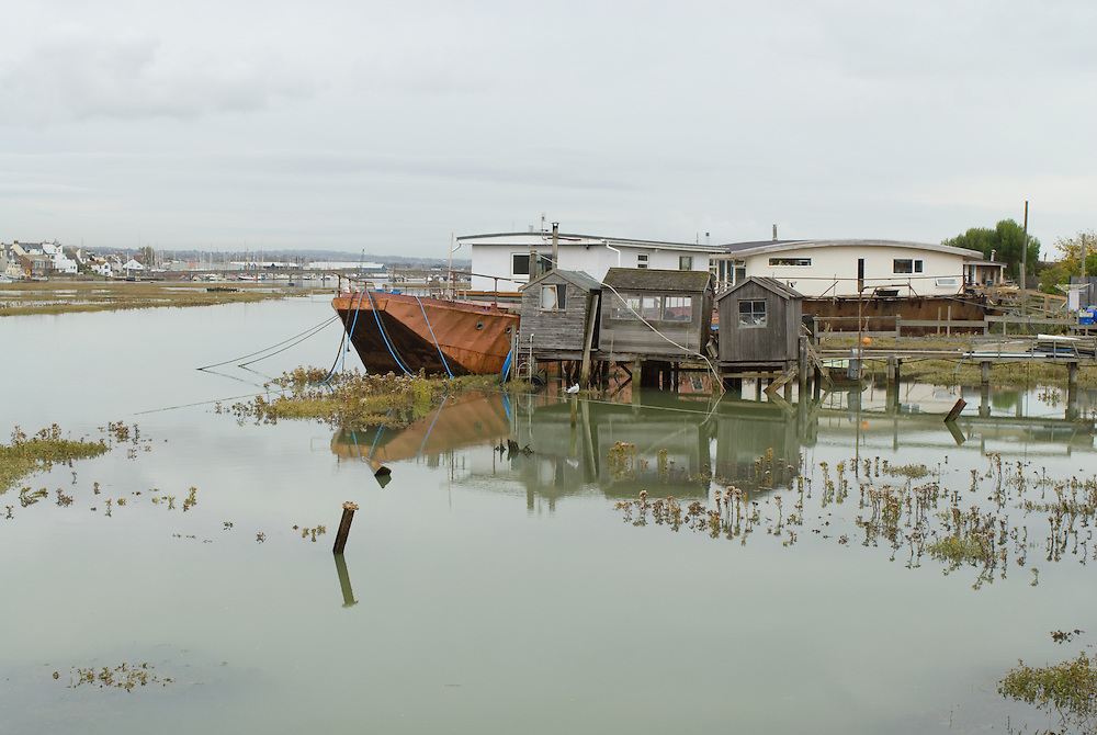 House boats in Shoreham, East Sussex, England. 2008.
