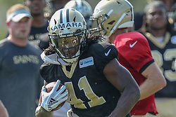 July 28, 2018 - New Orleans, LA, U.S. - METAIRIE, LA. - JULY 28:  New Orleans Saints running back Alvin Kamara (41) runs through a drill during New Orleans Saints training camp practice on July 28, 2018 at the Ochsner Sports Performance Center in New Orleans, LA.  (Photo by Stephen Lew/Icon Sportswire) (Credit Image: © Stephen Lew/Icon SMI via ZUMA Press)