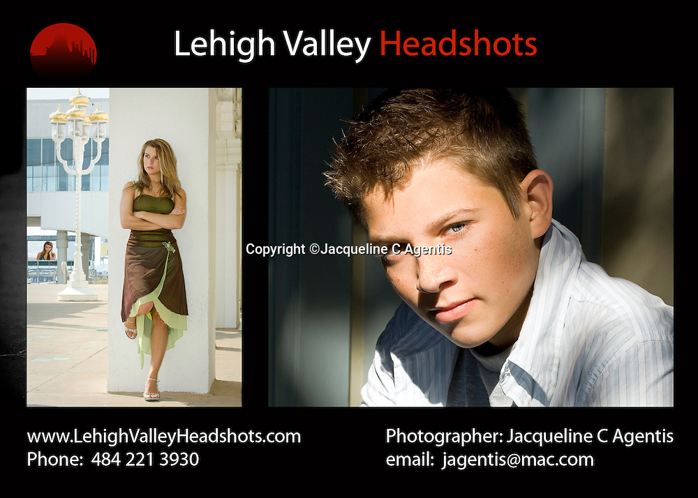 Professional Lehigh Valley Photographer Jacqueline C Agentis specializing in Model/Actor Headshots for all ages. Lehigh Valley Headshots Front Page design with clients largely in Pennsylvania but also New York, Florida, Kentucky, Colorado