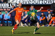 Coventry City defender Dominic Hyam (15) on the ball under pressure from Luton Town forward Danny Hylton during the EFL Sky Bet League 1 match between Luton Town and Coventry City at Kenilworth Road, Luton, England on 24 February 2019.