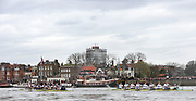 Putney, London, University Boat Race, Oxford UBC left, as the both crews pass the Doves Pier during  the 156th Race, on the Championship Course Putney to Hammersmith  Saturday  03/04/2010 [Mandatory Credit Peter Spurrier/ Intersport Images]