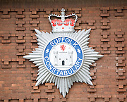 Close up detail of badge logo for Suffolk Constabulary, England