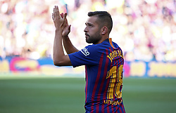 August 15, 2018 - Barcelona, Spain - Jordi Alba during the presentation of the team 2018-19 before the match between FC Barcelona and C.A. Boca Juniors, corresponding to the Joan Gamper trophy, played at the Camp Nou, on 15th August, 2018, in Barcelona, Spain. (Credit Image: © Joan Valls/NurPhoto via ZUMA Press)