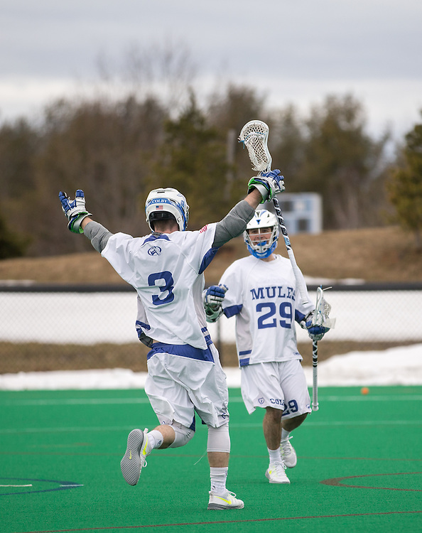 John Grimaldi and Derek Youngman of Colby College, during a NCAA Division III men's lacrosse game against at Amherst College on April 11, 2015 in Waterville, ME. (Dustin Satloff/Colby Athletics)