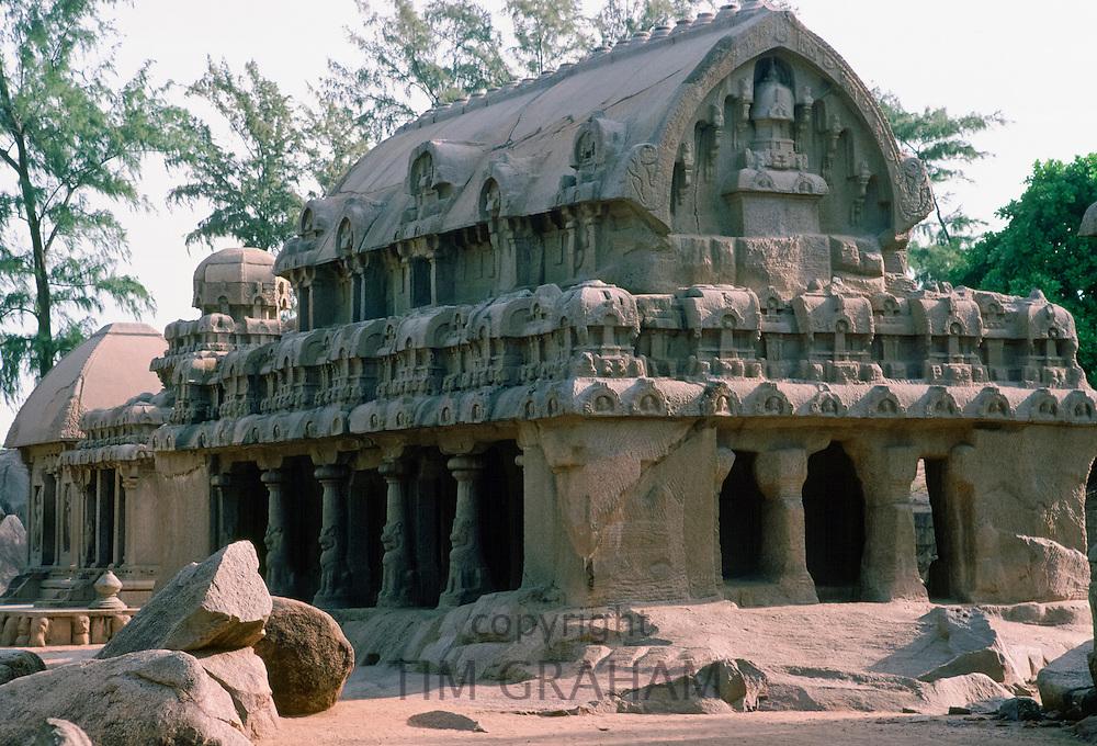 Monuments at Mahabalipuram UNESCO World Heritage Site in Kancheepuram district in state of Tamil Nadu, now Mamallapuram, India
