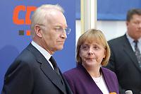 17 JAN 2002, BERLIN/GERMANY:<br /> Edmund Stoiber, CSU, Ministerpraesident Bayern und CDU/CSU Spitzenkandidat, und Angela Merkel, CDU Bundesvorsitzende, waehrend einem Pressestatement zu einer vorangegangenen Besprechung ueber die Organisation des Bundestagswahlkampfes, CDU Bundesgeschaeftsstelle<br /> IMAGE: 20020117-01-003<br /> KEYWORDS: Ministerpräsident, Mikrofon, microphone, Pressekonferenz