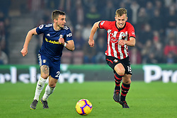 February 27, 2019 - Southampton, England, United Kingdom - Southampton midfielder James Ward-Prowse chases down the ball during the Premier League match between Southampton and Fulham at St Mary's Stadium, Southampton on Wednesday 27th February 2019. (Credit Image: © Mi News/NurPhoto via ZUMA Press)