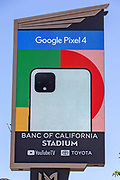 Banc of California Stadium Marquee displaying Google Pixel 4 along the Interstate 110 freeway in the wake of the coronavirus COVID-19 pandemic, Wednesday, May 20, 2020. in Los Angeles, Calif. (Jevone Moore/Image of Sport)