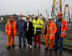 First Minister Nicola Sturgeon meets workers at the Burntisland Fabrication yard in Methyl, Fife on a visit after the future of the closure-threatened was secured.<br /> <br /> © Dave Johnston/ EEm