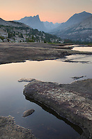 Afterglow, Looking towards Cirque of the Towers from Deep Lake, Bridger Wilderness in the Wind River Range of the Wyoming Rocky Mountains