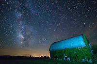 This large, ivy-covered barn is located outside of Keosauqua, Iowa. This area has some of the darkest skies in the midwest and the milky way was breathtaking.<br /> <br /> Date Taken: June 25, 2014