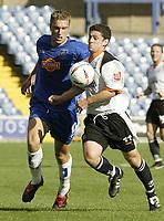 Photo. Aidan Ellis.Digitalsport<br /> Stockport County v Luton Town.<br /> Coca-Cola League Division 1.<br /> 18/09/2004.<br /> luton's Steve Robinson and Stockport's Rickie Lambert