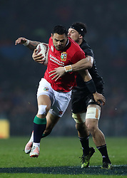 British and Irish Lions Ben Te'o is tackled by Maori's Elliot Dixon during the Tour match at the Rotorua International Stadium, Rotoura.