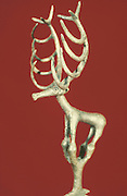 Catal Huyuk: Anatolian cultural relic 5,750 BC. Gold figure in form of a stag.