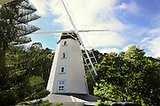 New Zealand, South Island, Nelson. Founders Heritage Park reconstructed windmill