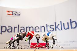 15.04.2014, Parlament, Wien, AUT, OeVP, Pressekonferenz zum Thema Kontrollinstrument Untersuchungsausschuss Neu. im Bild Feature Mikrophone // Feature Microphones during OeVP press conference about reformation of committee of enquiry at Parliament in Vienna, Austria on 2014/04/15. EXPA Pictures © 2014, PhotoCredit: EXPA/ Michael Gruber