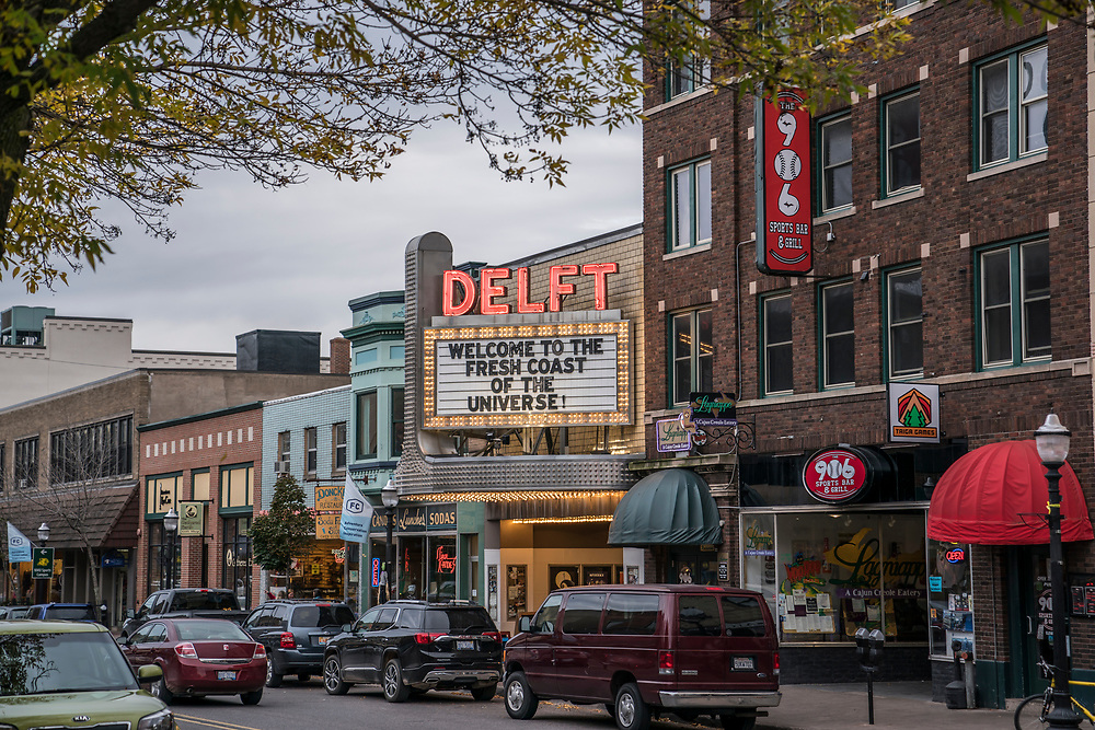 The Marquee of the Delft Theater announces the Fresh Coast Film Festival.