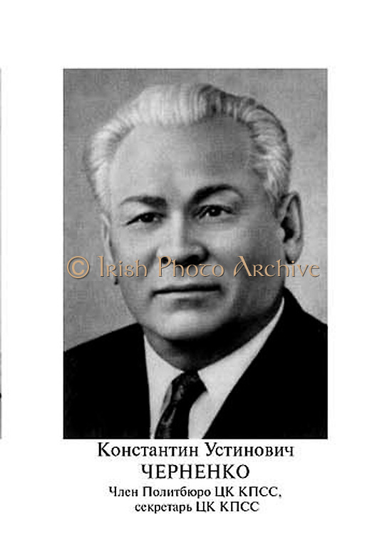 Konstantin Ustinovich Chernenko in 1984. ( 1911 – 10 March 1985). Soviet  Russian statesman during the Cold War. General Secretary of the Communist Party of the Soviet Union. He led the Soviet Union from 13 February 1984 until his death thirteen months later, on 10 March 1985. Chernenko was also Chairman of the Presidium of the Supreme Soviet from 11 April 1984 until his death.