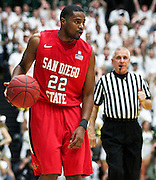 SHOT 1/28/12 4:23:15 PM - San Diego State's Chase Tapley #22 plays against Colorado State during their regular season Mountain West conference game at Moby Arena in Fort Collins, Co. Colorado State upset 12th ranked San Diego State 77-60. (Photo by Marc Piscotty / © 2012)