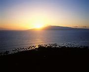 Sunset behind Lanai from Lahaina Maui, Hawaii