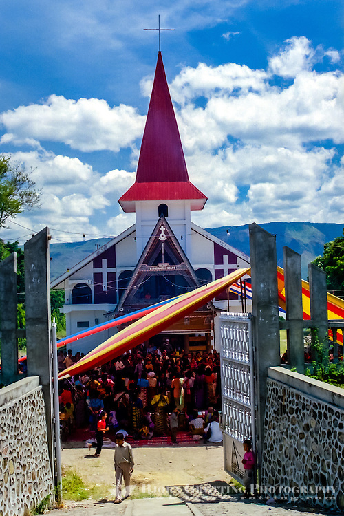 Indonesia, Sumatra. Samosir. A Batak church not far from Simanindo, north Samosir.