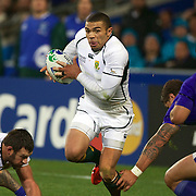 Bryan Habana, South Africa, in action during the South Africa V Samoa, Pool D match during the IRB Rugby World Cup tournament. North Harbour Stadium, Auckland, New Zealand, 30th September 2011. Photo Tim Clayton...