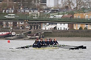 London, UK. 04 April 2019.  Oxford and Cambridge Universities Blue Crews undertake Practice Outings in preparation for this Sunday's Boat Race.<br /> Pictured: Oxford University Women's Boat Club (OUWBC) Blue Crew.  Stroke: Amelia Standing, 7. Tina Christmann, 6. Beth Bridgman, 5. Liv Pryer, 4. Lizzie Polgreen, 3. Renée Koolschijn, 2. Anna Murgatroyd, Bow. Issy Dodds, Cox. Eleanor Shearer.