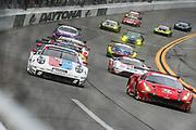 January 24-27, 2019. IMSA Weathertech Series ROLEX Daytona 24. Start of the 57th Daytona 24 #912 Porsche GT Team Porsche 911 RSR, GTLM: Mathieu Jaminet, Earl Bamber,  #62 Risi Competizione Ferrari 488 GTE, GTLM: Davide Rigon, Miguel Molina , Brumos throwback livery