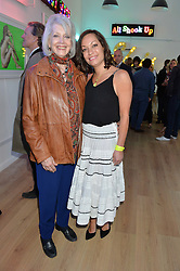 Left to right, GAYLE HUNNICUTT and NATASHA ARCHDALE at a private view of an exhibition entitled 'All Shook Up' - by Natasha Archdale: A Retrospective held at 90 Piccadilly, London on 23rd April 2015.