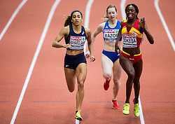Agnes Raharolahy of France,  Bianca Razor of Romania, Lorena Aauri Bokesa of Spain compete in the Women's 400 metres heats on day one of the 2017 European Athletics Indoor Championships at the Kombank Arena on March 3, 2017 in Belgrade, Serbia. Photo by Vid Ponikvar / Sportida