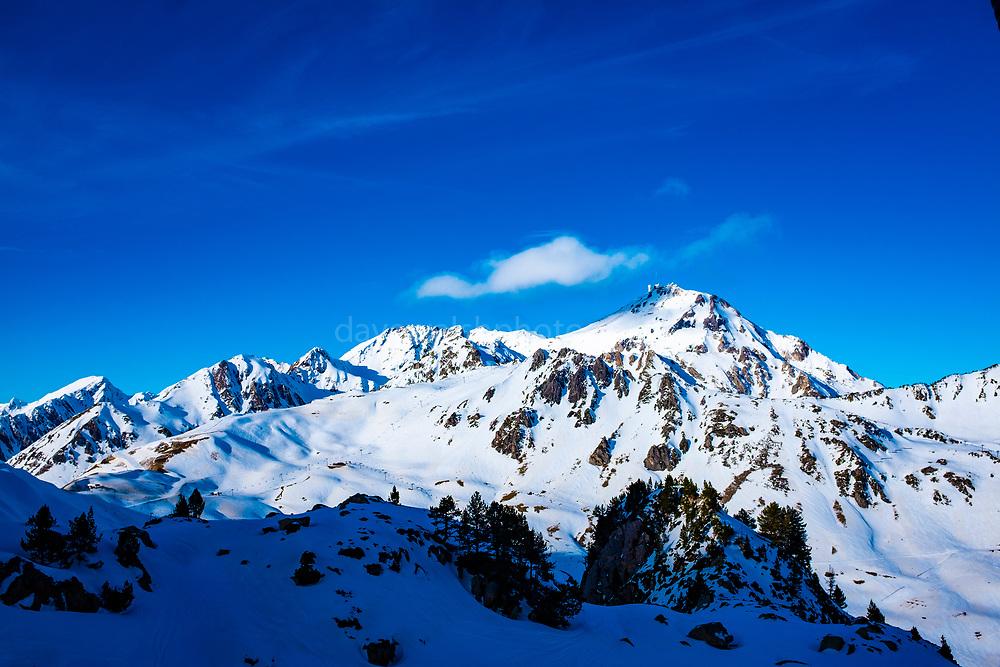 Pic du Midi de Bigorre. Mountain Landscapes, La Mongie ski resort,  Bagnères-de-Bigorre, France.