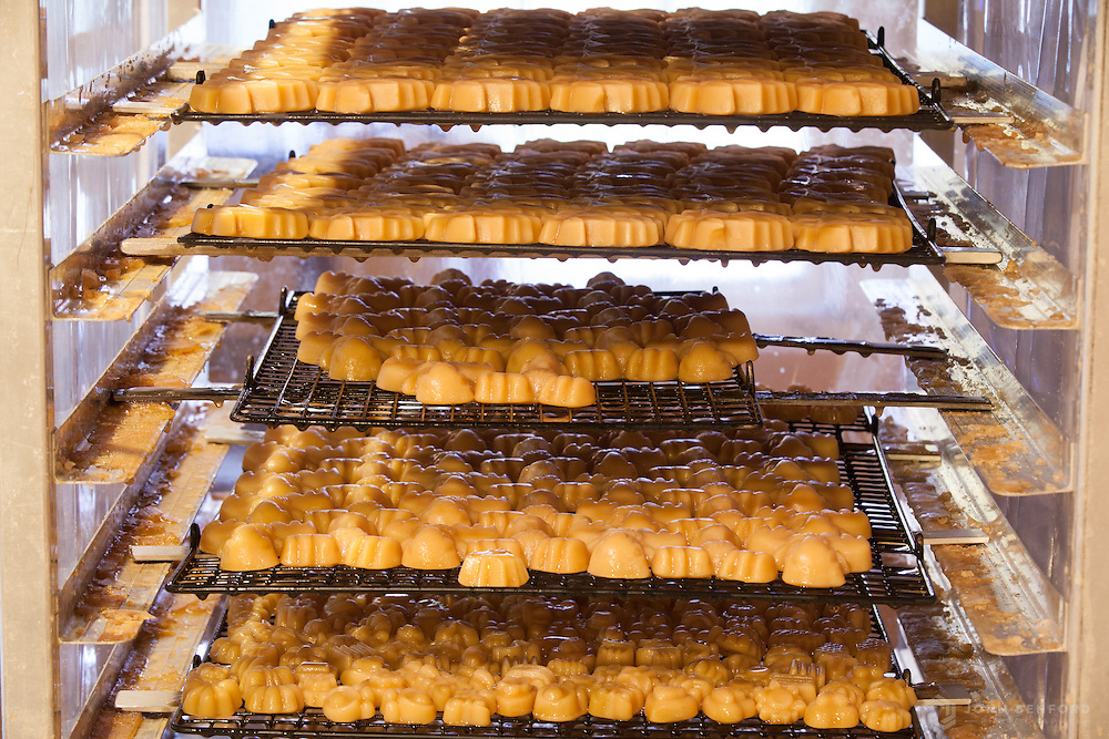 Racks of molded maple sugar candies sit on shelves to harden.