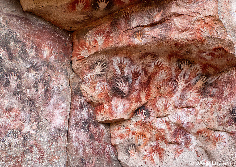 More than 90% of the approximately 9000 years old painted hands are left hands. If you are lucky you can find the famous six-fingered hand.