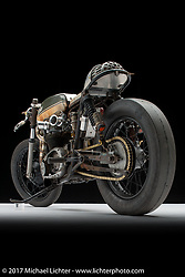 """The Manipulated"", a custom BSA A65 cafe racer built by J Shia and Mike Ulman of Madhouse Motors in Boston, MA. Photographed by Michael Lichter in Sturgis, SD on August 2 2017. ©2017 Michael Lichter."