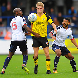 TELFORD COPYRIGHT MIKE SHERIDAN 13/10/2018 - Ellis Deeney and Theo Streete of AFC Telford battles for the ball with Marcus Carver during the Vanarama National League North fixture between AFC Telford United and Chorley