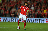 Ashley Williams of Wales in action.  Wales v Rep of Ireland , FIFA World Cup qualifier , European group D match at the Cardiff city Stadium in Cardiff , South Wales on Monday 9th October 2017. pic by Andrew Orchard, Andrew Orchard sports photography