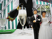 Pouring Champagne for the Bride and Groom at a wedding.
