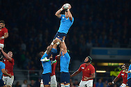 Josh Furno of Italy jumps to claim a line out ball.  Rugby World Cup 2015 pool D match, France v Italy at Twickenham Stadium in London on Saturday 19th September 2015.<br /> pic by John Patrick Fletcher, Andrew Orchard sports photography.