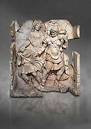 Roman Sebasteion relief  sculpture of Aineas' flight from Troy, Aphrodisias Museum, Aphrodisias, Turkey.  Against a grey background.<br /> <br /> Aineas in armour carries his aged farther Anchises on his shoulders and leads his young son Lulus by his hand. They are fleeing from the sack of Troy. The figure floating behind is Aphrodite, Aineas' mother: she is helping their escape. Old Anchises carries a round box that held images of Troy's ancestral gods. .<br /> <br /> If you prefer to buy from our ALAMY STOCK LIBRARY page at https://www.alamy.com/portfolio/paul-williams-funkystock/greco-roman-sculptures.html . Type -    Aphrodisias     - into LOWER SEARCH WITHIN GALLERY box - Refine search by adding a subject, place, background colour, museum etc.<br /> <br /> Visit our ROMAN WORLD PHOTO COLLECTIONS for more photos to download or buy as wall art prints https://funkystock.photoshelter.com/gallery-collection/The-Romans-Art-Artefacts-Antiquities-Historic-Sites-Pictures-Images/C0000r2uLJJo9_s0