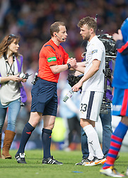 Ref Collum with Falkirk's Rory Loy at the end. Falkirk 1 v 2 Inverness CT, Scottish Cup final at Hampden.