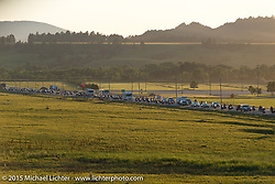 View of the traffic coming out highway 34 from Sturgis shot from the Full Throttle Saloon during the 75th Annual Sturgis Black Hills Motorcycle Rally.  SD, USA.  August 1, 2015.  Photography ©2015 Michael Lichter.