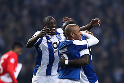 December 6, 2017 - Porto, Porto, Portugal - Porto's Algerian forward Yacine Brahimi (C) celebrates after scoring a goal with Porto's Cameroonian forward Vincent Aboubakar (R) and Porto's Malian forward Moussa Marega (L) during the UEFA Champions League Group G match between FC Porto and AS Monaco FC at Dragao Stadium on December 6, 2017 in Porto, Portugal. (Credit Image: © Dpi/NurPhoto via ZUMA Press)