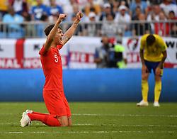 SAMARA, July 7, 2018  John Stones (L) of England celebrates victory after the 2018 FIFA World Cup quarter-final match between Sweden and England in Samara, Russia, July 7, 2018. England won 2-0 and advanced to the semi-finals. (Credit Image: © Li Ga/Xinhua via ZUMA Wire)