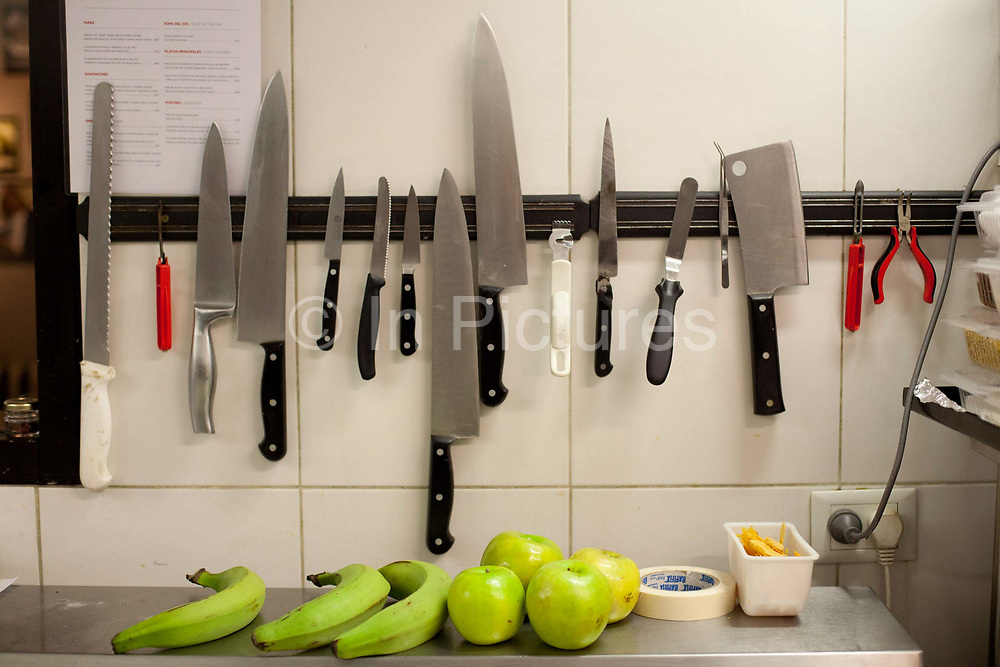 Knives in the kitchen hanging up, One Table with Hernán Gipponi at the HG restaurant in the Fierro Hotel in Palermo, Buenos Aires, Federal District, Argentina.
