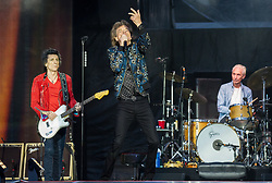 Mick Jagger, Ronnie Wood and Charlie Watts of The Rolling Stones perform on stage at Ricoh Arena on June 02, 2018 in Coventry, England. Picture date: Saturday 02 June, 2018. Photo credit: Katja Ogrin/ EMPICS Entertainment.