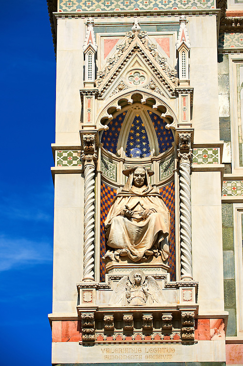 Sculpture of  Cardinal Pietro Valeriani (Valerianus Legatus), who blessed the Duomo's foundations in 1296.on the facade of  the Gothic-Renaissance Duomo of Florence,  Basilica of Saint Mary of the Flower; Firenza ( Basilica di Santa Maria del Fiore ).  Built between 1293 & 1436. Italy .<br /> <br /> Visit our ITALY PHOTO COLLECTION for more   photos of Italy to download or buy as prints https://funkystock.photoshelter.com/gallery-collection/2b-Pictures-Images-of-Italy-Photos-of-Italian-Historic-Landmark-Sites/C0000qxA2zGFjd_k<br /> .<br /> <br /> Visit our MEDIEVAL PHOTO COLLECTIONS for more   photos  to download or buy as prints https://funkystock.photoshelter.com/gallery-collection/Medieval-Middle-Ages-Historic-Places-Arcaeological-Sites-Pictures-Images-of/C0000B5ZA54_WD0s