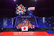 BANGKOK, THAILAND - MAY 26: Team Japan celebrate on stage with their gold medals during the Medals Presentation at the BWF Total Thomas and Uber Cup Finals 2018, Impact Arena, Bangkok, Thailand on May 26, 2018.<br /> .<br /> .<br /> .<br /> (Photo by: Naratip Golf Srisupab/SEALs Sports Images)<br /> .<br /> Any image use must include a mandatory credit line adjacent to the content which should read: Naratip Golf Srisupab/SEALs Sports Images